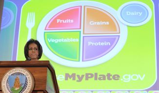 **FILE** First lady Michelle Obama introduces the Department of Agriculture's new guide to healthy eating, My Plate, on June 2, 2011. The plate graphic replaces the familiar pyramid and has an accompanying website. (Associated Press)