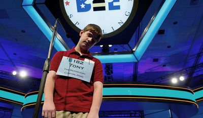 "Tony Incorvati, 13, of Uniontown, Ohio, suffers the agony of defeat after misspelling the word ""syringadenous"" during the annual bee's semifinals on Thursday."