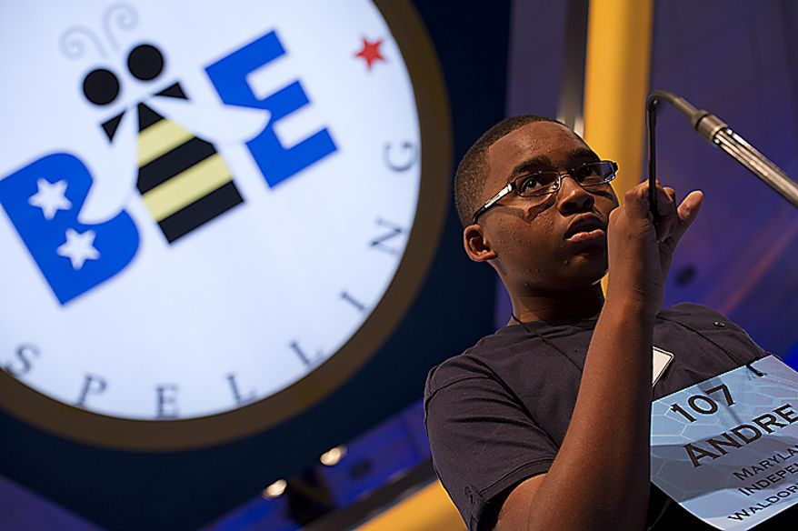 "Andre Winkfield, 13, of Waldorf, Md., misspells ""tawdrily"" during Round Three of the 2011 Scripps Howard National Spelling Bee, held Wednesday, June 1, 2011 at the Gaylord National in Oxon Hill, Md. Spellers were not eliminated during Wednesday's rounds, but rather earned points towards competing in the semifinals, which will be held Thursday. Only 50 spellers will advance. (Barbara L. Salisbury/The Washington Times)"