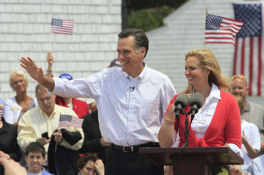 Former Massachusetts Gov. Mitt Romney, accompanied by his wife, Ann, arrives in Stratham, N.H., on Thursday, June 2, 2011, to announce his candidacy for the presidency in 2012. (AP Photo/Jim Cole)