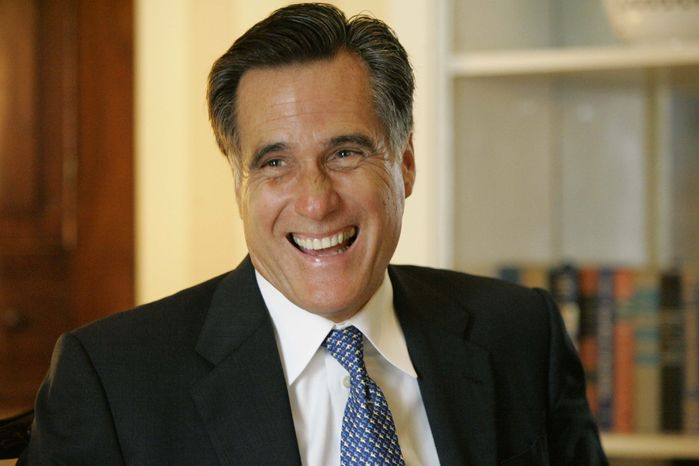 ** FILE ** Former Massachusetts Gov. Mitt Romney smiles during an interview with the Associated Press in Columbia, S.C., in August 2007. (AP Photo/Mary Ann Chastain, File)
