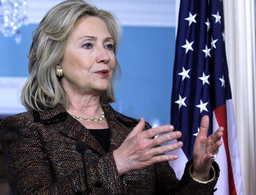 Secretary of State Hillary Rodham Clinton speaks during a joint news conference with Czech Foreign Minister Karel Schwarzberg (not shown) at the State Department in Washington on Thursday, June 2, 2011. (AP Photo/Jose Luis Magana)