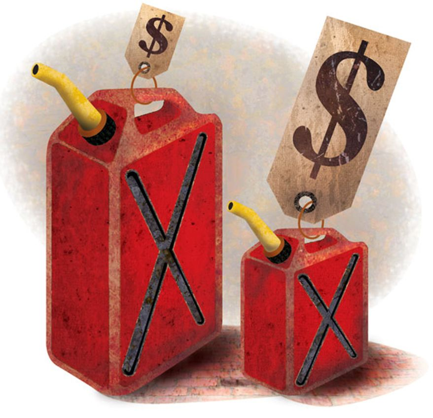 Illustration: Gas gouge by Greg Groesch for The Washington Times