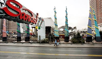 ** FILE ** In this Nov. 14, 2007 photo, the site of the demolished Sands Hotel and Casino is seen in Atlantic City, N.J. Pinnacle Entertainment scrapped their plans to build a mega- casino on the site and is trying to sell the land where it would have gone. (AP Photo/Mel Evans, File)