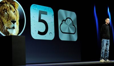 ASSOCIATED PRESS Apple CEO Steve Jobs, interrupting his medical leave to attend the firm's developers conference on Monday, introduces the new iCloud system, which stores user information from several devices, including iPhones and iPads, and makes sure the same data is available on all of them.