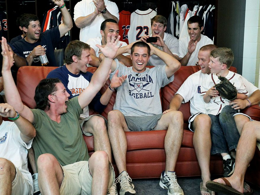 University of Virginia pitcher Danny Hultzen reacts to being selected No. 2 overall in the 2011 MLB draft in the team's clubhouse in Charlottesville, Va. (Jim Daves/Virginia Media Relations)