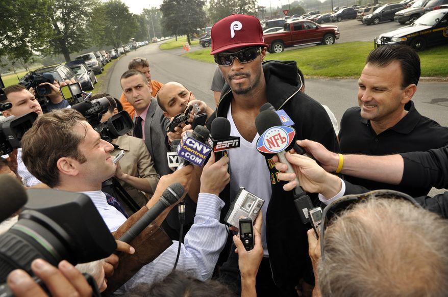 Former New York Giants star Plaxico Burress speaks to the media on June 6, 2011, moments after being released from the Oneida County Correction Facility in Rome, N.Y. (Associated Press)