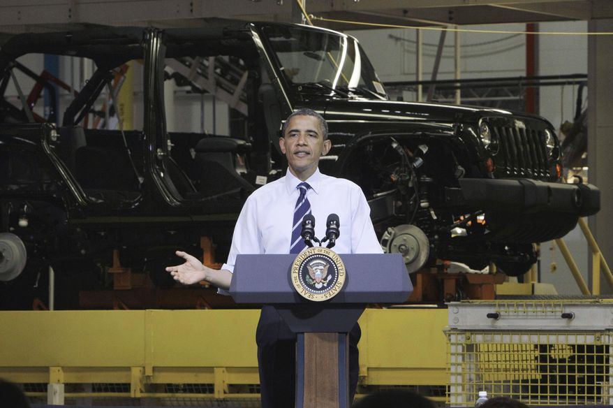 **FILE** President Obama speaks on June 3, 2011, in front of a Jeep Wrangler at Chrysler Group's Toledo Assembly complex in Toledo, Ohio. (Associated Press)