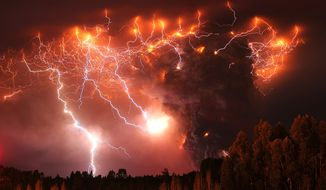 Lightning strikes over the Puyehue volcano, more than 500 miles south of Santiago, Chile, on Monday, June 6, 2011. (AP Photo/Francisco Negroni, Agencia Uno)