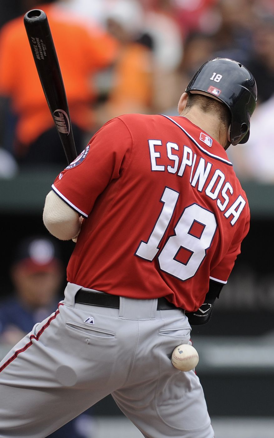 Washington Nationals' Danny Espinosa is hit by a pitch during the fourth inning of a baseball game against the Baltimore Orioles. Espinosa is the National League's leader in hit-by-pitches with 12 on the year.  (AP Photo/Nick Wass)