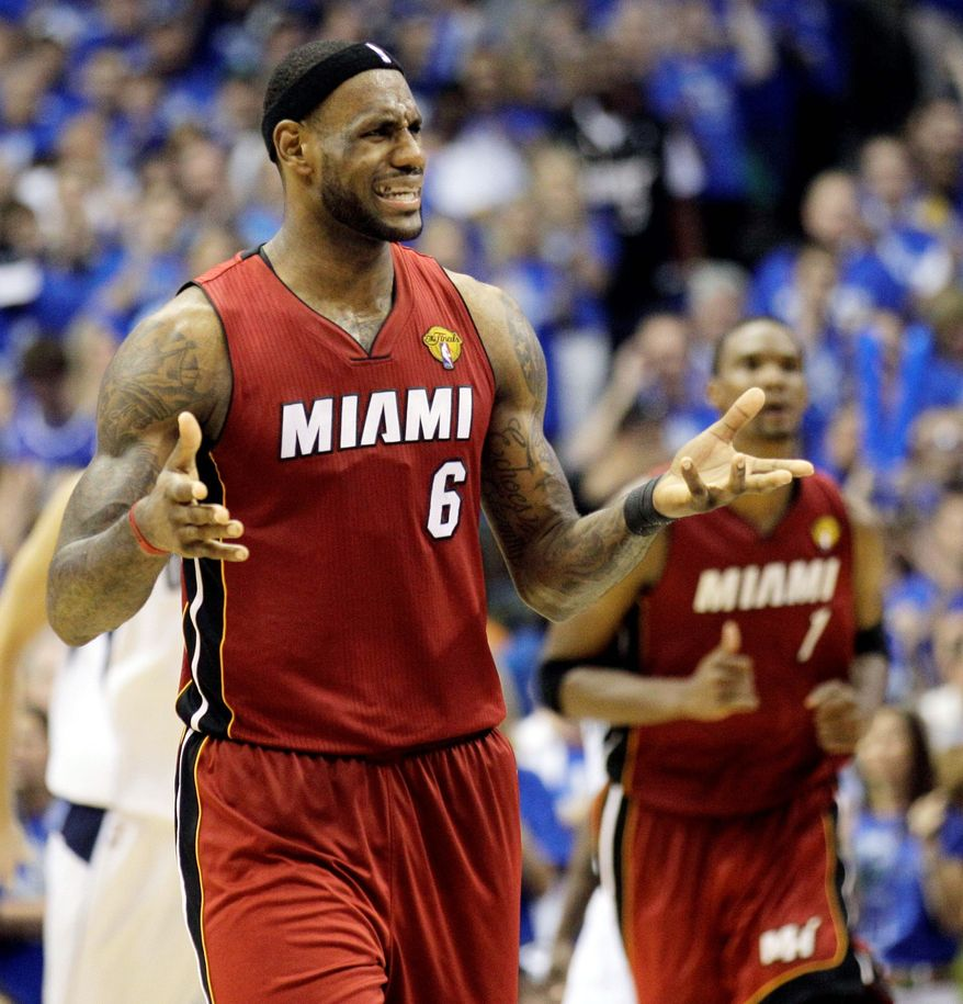Miami Heat's LeBron James (6) reacts during the second half of Game 4 of the NBA Finals basketball game against the Dallas Mavericks Tuesday, June 7, 2011, in Dallas. (AP Photo/Mark Humphrey)