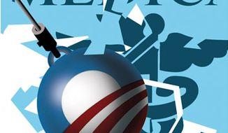 Illustration: Obamacare wrecks Medicare by Alexander Hunter for The Washington Times