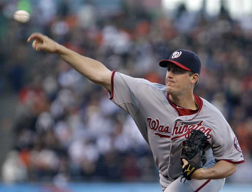 Washington Nationals' Jordan Zimmermann works against the San Francisco Giants during the first inning of a baseball game Tuesday, June 7, 2011, in San Francisco. Zimmermann threw seven innings and allowed just one run while striking out three in the Nats' 2-1 win over the Giants. (AP Photo/Ben Margot)