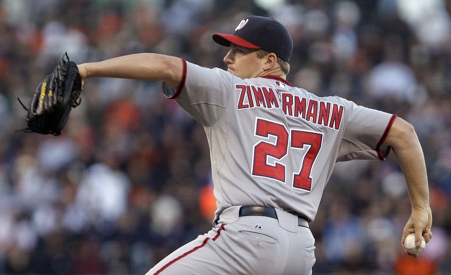 Washington Nationals' Jordan Zimmermann works against the San Francisco Giants during the first inning of a baseball game Tuesday, June 7, 2011, in San Francisco. (AP Photo/Ben Margot)