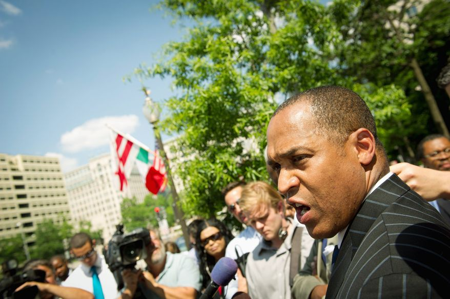 D.C. Council member Harry Thomas Jr. (above) fields reporters' questions this week outside the Wilson Building about investigations of his Team Thomas nonprofit. One of the donors to the nonprofit is strip club co-owner Keith Forney (left). (Rod Lamkey Jr./The Washington Times)
