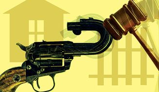 Illustration: Gun control by Alexander Hunter for The Washington Times