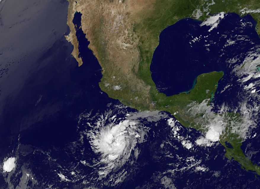 This image provided by NOAA-NASA GOES Project shows Hurricane Adrian on June 8, 2011, at 5:15 a.m. EDT. (Associated Press/NOAA-NASA GOES)