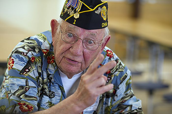 """World War II veteran Edward Connor tells students at Rocky Run Middle School in Chantilly, Va., stories about his time with the U.S. Army Air Corps in Papua New Guinea, Guadalcanal and the Bismarck Sea Battle during the school's annual World War II Day, called """"The Latest Generation Meets the Greatest Generation,"""" on Thursday, June 9, 2011. (Barbara L. Salisbury/The Washington Times)"""