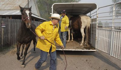 Robert Lock (center) and Fred Campbell, both of Alpine, Ariz., load horses into a trailer in Luna, N.M., on June 10, 2011, as they prepare to return to Alpine during the Wallow fire. The major wildfire in Arizona's eastern mountains burned out of control early Friday after charring more than 603 square miles of timber, destroying dozens of structures and keeping thousands of evacuees away from their homes. (Associated Press)