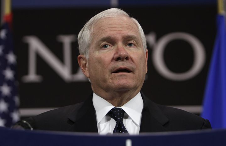 U.S. Defense Secretary Robert Gates speaks during a media conference after a meeting of NATO defense ministers at NATO headquarters in Brussels on Thursday, June 9, 2011. NATO defense ministers shift their focus from Libya to Afghanistan during talks on Thursday. (AP Photo/Virginia Mayo)