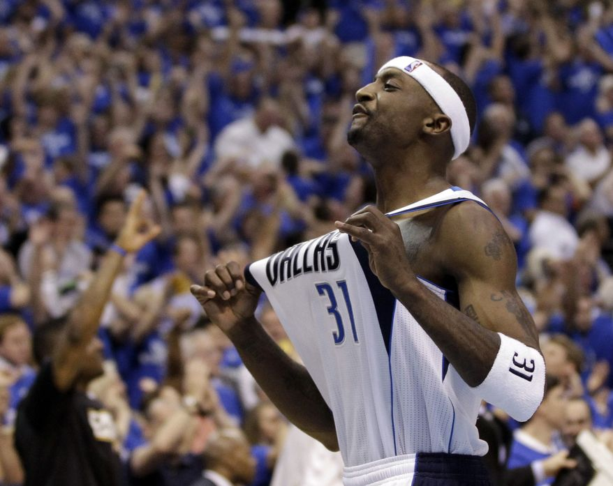 Dallas Mavericks' Jason Terry celebrates after Game 5 of the NBA finals against the Miami Heat Thursday, June 9, 2011, in Dallas. The Mavericks won 112-103 to take a 3-2 lead in the series. Terry had 21 points, six assists and four rebounds in the win. (AP Photo/David J. Phillip)