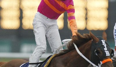 Jockey Jose Valdivia Jr. celebrates after Ruler on Ice won the Belmont Stakes horse race Saturday, June 11, 2011, at Belmont Park in Elmont, N.Y. (AP Photo/Frank Franklin II)