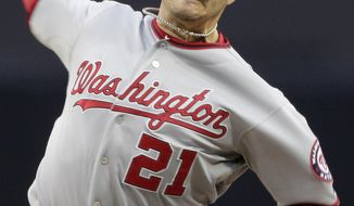 The Washington Nationals traded starting pitcher Jason Marquis to the Arizona Diamondbacks for Single-A shortstop Zach Walters. (AP Photo/Gregory Bull)