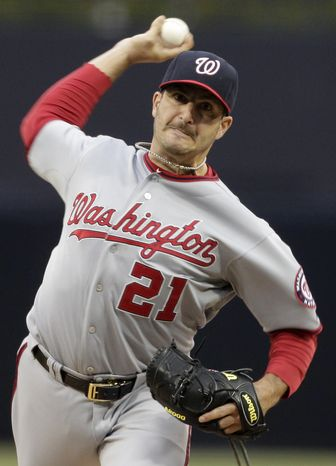 The Washington Nationals traded starting pitcher Jason Marquis to the Arizona Diamondbacks for Single-A shortstop Zach Walters. (AP Photo/Gregory Bull)