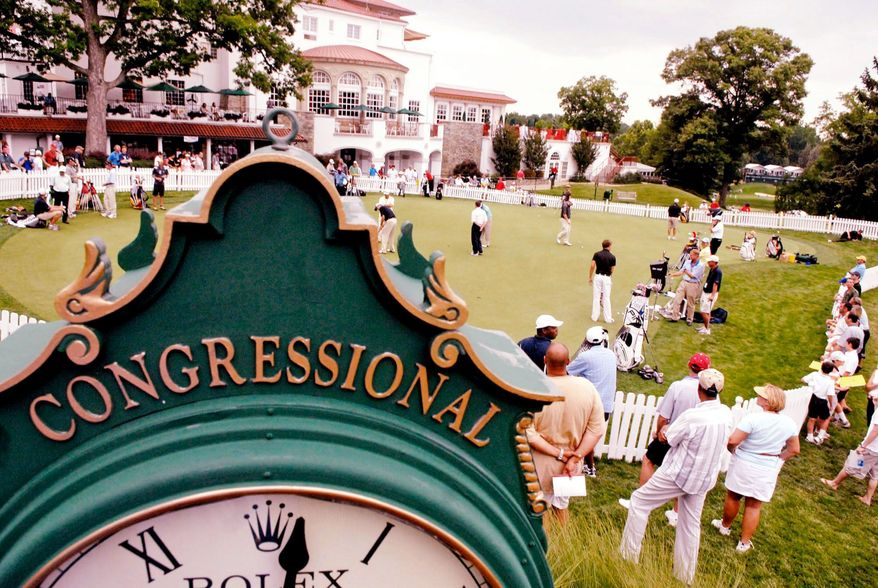 The Rolex clock serves the putting green and the clubhouse at Congressional, where President Hoover was the first club president when the course opened in 1924 with 825 life members. (Rod Lamkey Jr./The Washington Times)