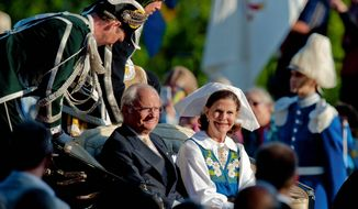 The exploits of King Carl XVI Gustaf, traveling in a horse-drawn carriage with Queen Silvia, have plunged the existence of Sweden's 1,000-year-old monarchy into crisis. (Associated Press)
