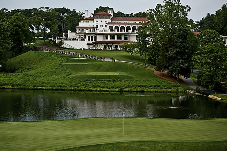 A view of the 10th green and the clubhouse at Congressional Country Club in Bethesda, Md., is shown on May 23, 2011. (Drew Angerer/The Washington Times)