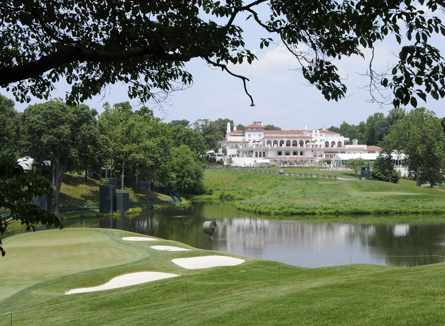 A view of the 18th green and the clubhouse at Congressional Country Club is shown on June 10, 2011, in Bethesda, Md. (Associated Press)