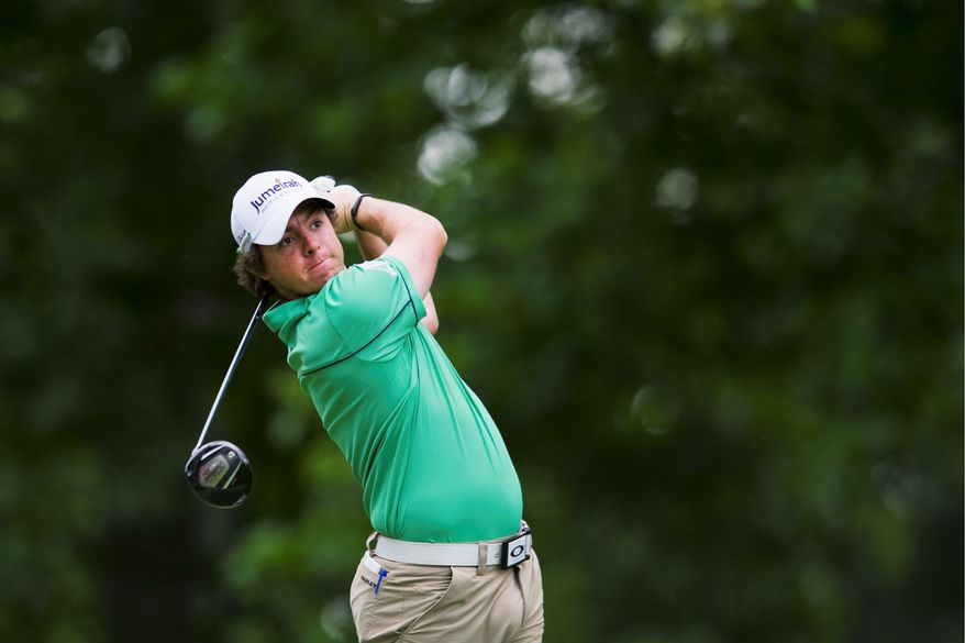 """DREW ANGERER/THE WASHINGTON TIMES Rory McIlroy said there were lessons he took from his final-round 80 in the Masters after holding the 54-hole lead. """"I think the more you get yourself into that position, the more you deal with it better,"""" he said."""