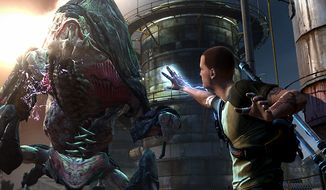 Cole MacGrath battles really large monsters in inFamous 2, a video game exclusive to the PlayStation 3.