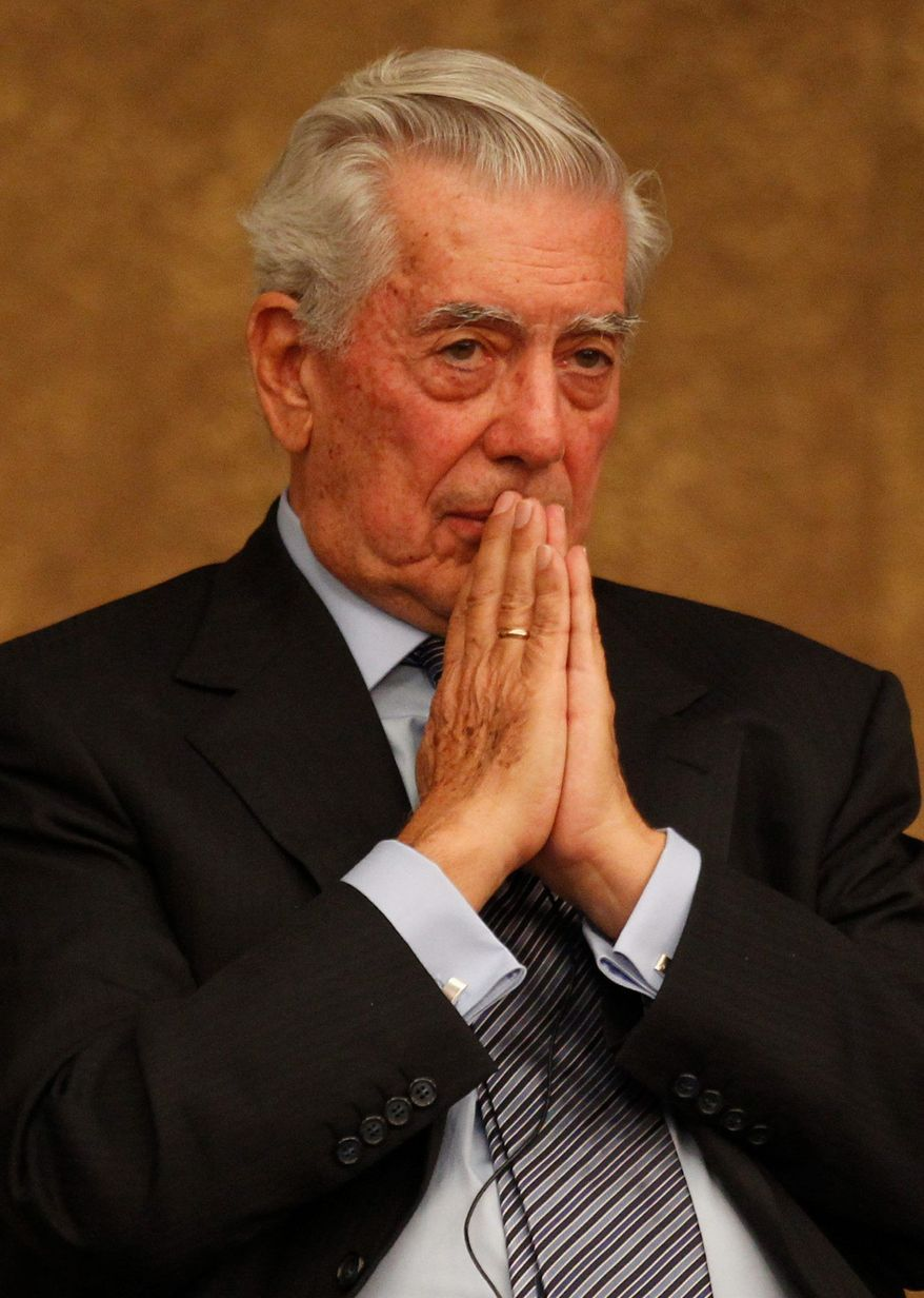 "ASSOCIATED PRESS Authoritarian government ""corrupts all society,"" Peruvian Nobel literature  laureate Mario Vargas Llosa told students at a Shanghai school on Tuesday."