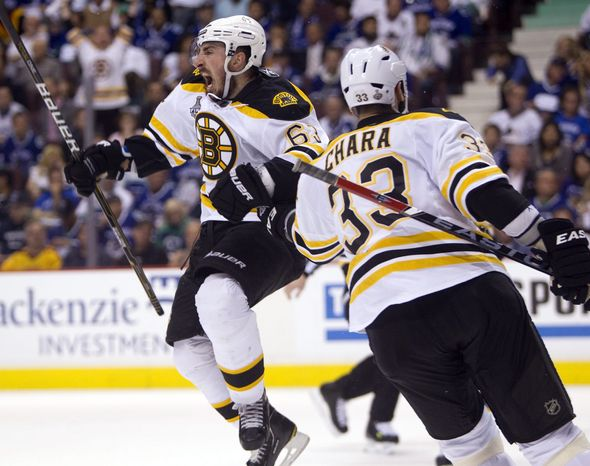 Boston Bruins left wing Brad Marchand celebrates with Zdeno Chara after scoring against the Vancouver Canucks during the second period of Game 7 of the NHL hockey Stanley Cup Finals on Wednesday, June 15, 2011, in Vancouver, British Columbia. The Bruins won 4-0 and took home the Stanley Cup. (AP Photo/The Canadian Press, Darryl Dyck)