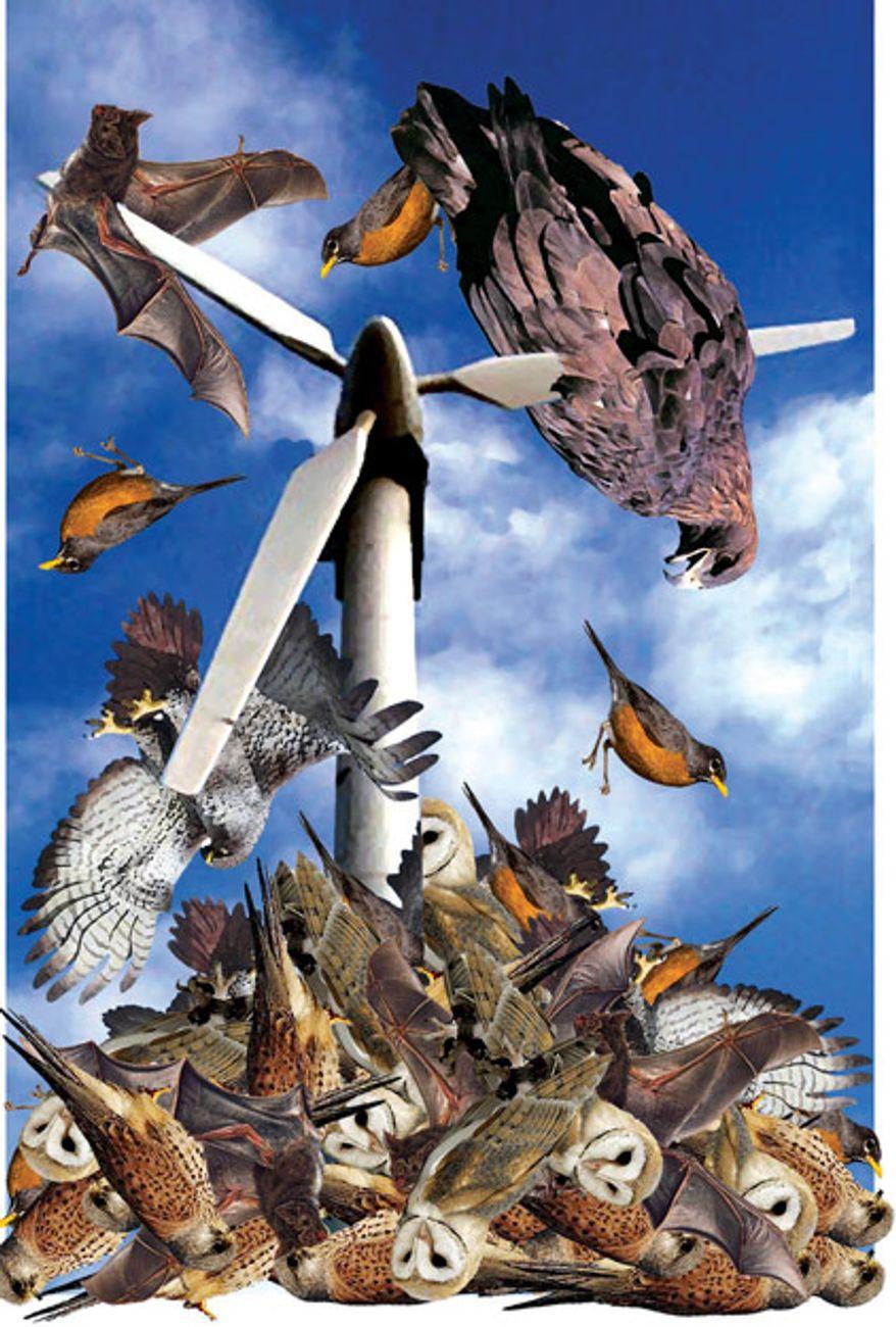 Illustration: Death turbine by Alexander Hunter for The Washington Times