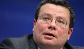 ** FILE ** Czech Defense Minister Alexandr Vondra addresses the media after a European Union foreign ministers meeting in Brussels in March 2009. (AP Photo/Geert Vanden Wijngaert, File)