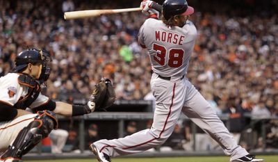 Washington Nationals' Mike Morse has been a force at the plate and at first base. Morse is batting over .300 and has 12 home runs on the year. (AP Photo/Ben Margot)