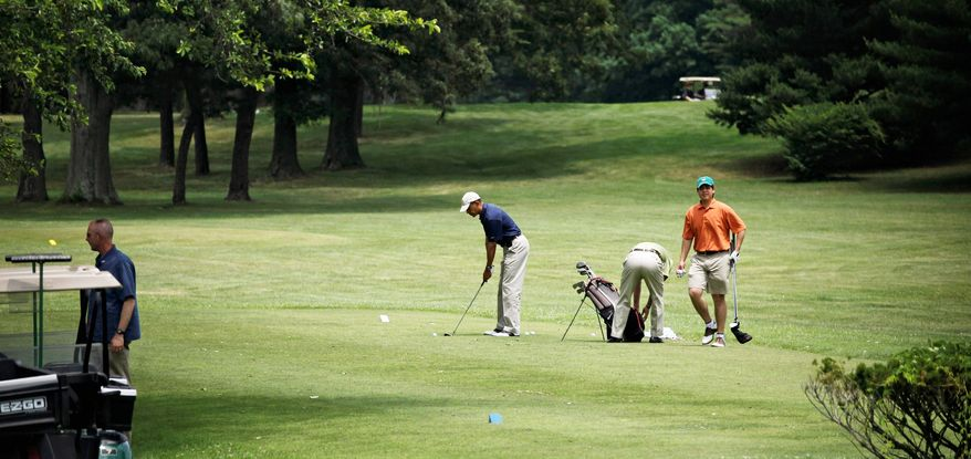 President Obama gets away from the White House on June 4 for golf at Andrews Air Force Base in Prince George's County. He and House Speaker John A. Boehner, Ohio Republican, are scheduled to hit the links together Saturday at an undisclosed location. (Associated Press)