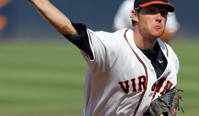 Virginia Will Roberts throws a pitch during Game 3 of the NCAA Super Regional baseball game against UC Irvine Monday, June 13, 2011, in Charlottesville, Va. (AP Photo/Andrew Shurtleff)
