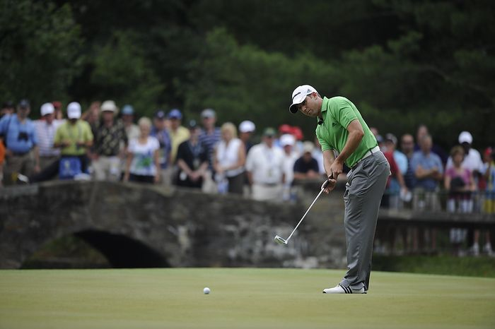 Sergio Garcia putts for birdie on the 6th hole during the first round of the U.S. Open at Congressional Country Club in Bethesda, Md., Thursday, June 16, 2011. (Drew Angerer/The Washington Times)