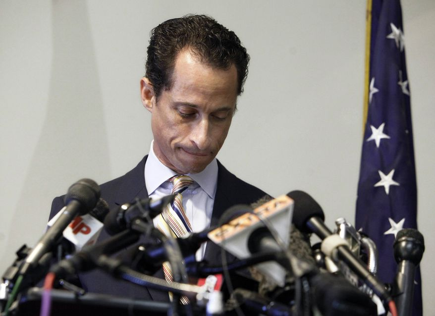 ** FILE ** Rep. Anthony D. Weiner announces his resignation from Congress on June 16, 2011, in the Brooklyn borough of New York. Mr. Weiner said he could not continue in office amid the intense controversy surrounding sexually explicit messages he sent online to several women. (Associated Press)