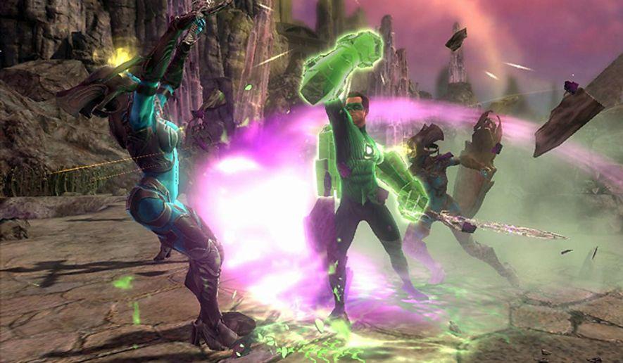 Hal Jordan battles a Zamaron warrior in video game Green Lantern: Rise of the Manhunters.
