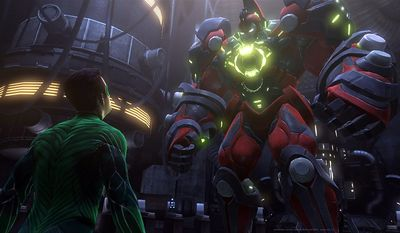 Hal Jordan meets the enemy in the video game, Green Lantern: Rise of the Manhunters.