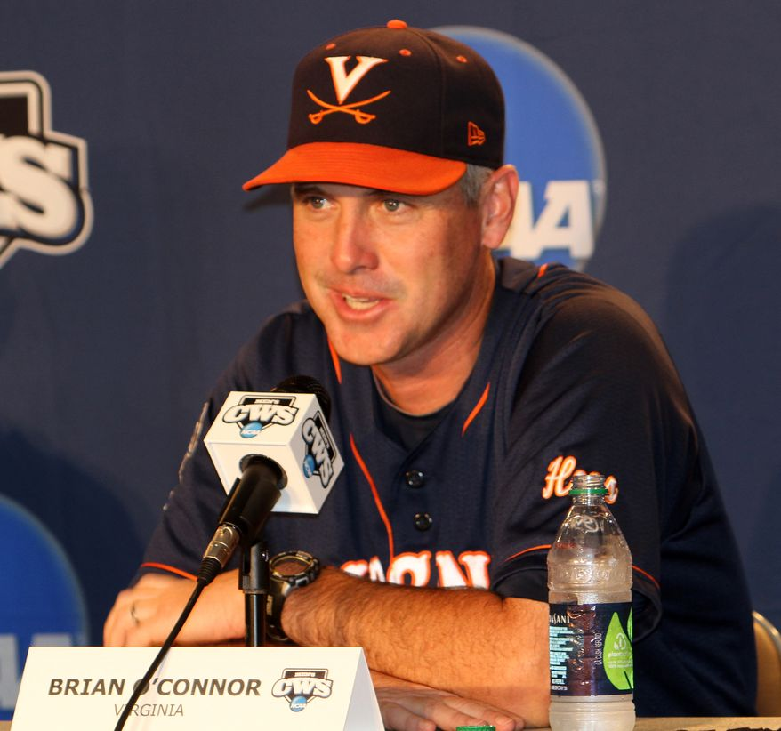 Virginia baseball coach Brian O'Connor speaks at a press conference Friday morning in Omaha, Neb. preceding UVa's College World Series game against California on Sunday. (Vincent Briedis/UVa Media Relations)