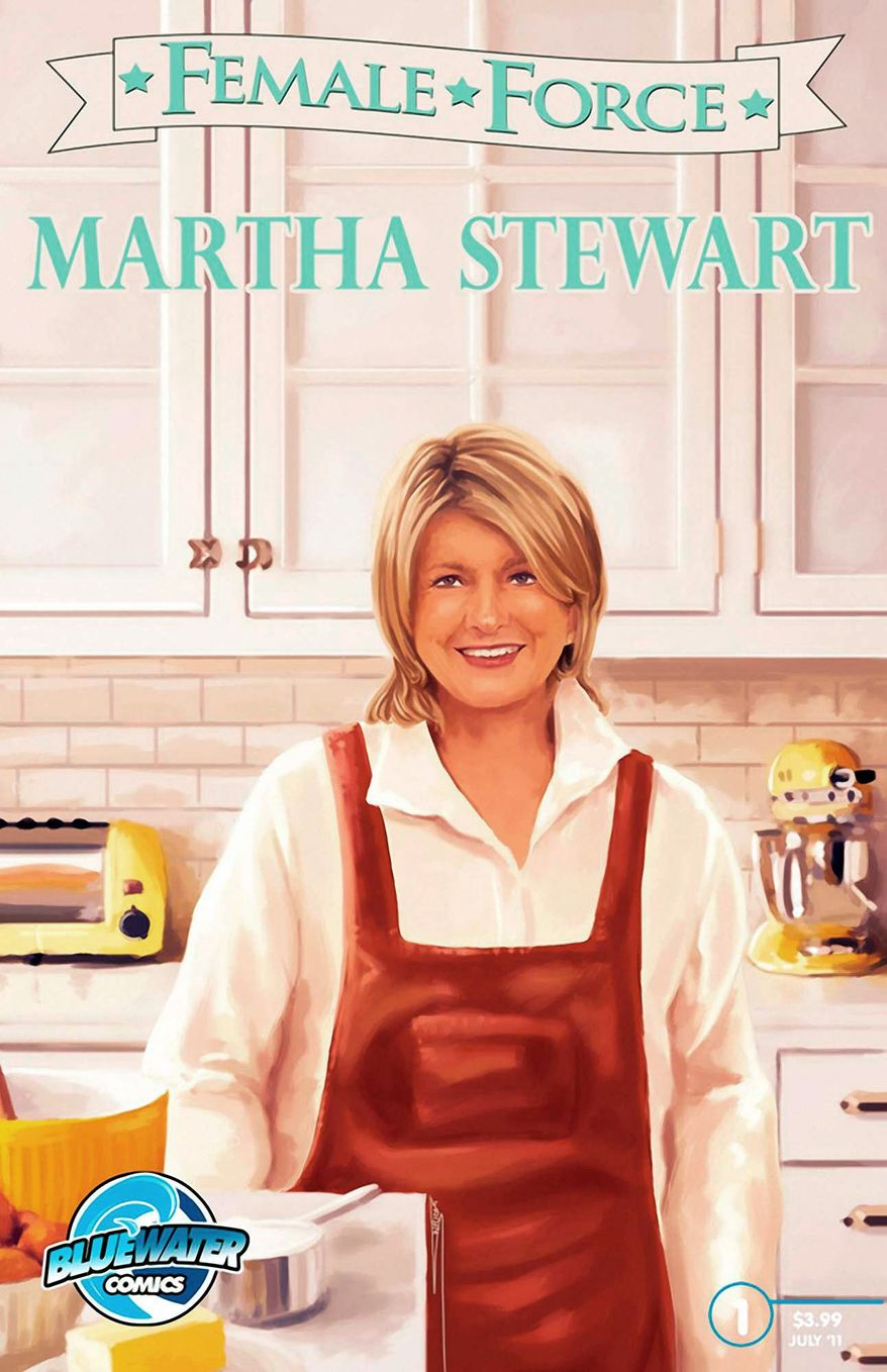 This is the cover of the comic book that looks at the life and career of Martha Stewart, the latest in a series that's also featured Michelle Obama and Sarah Palin. (Associated Press)
