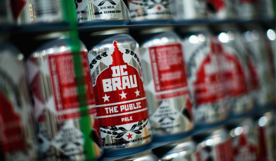 DC Brau chose to go with cans over bottles in part because cans are easier to take to picnics, concerts and other recreational events. (Drew Angerer/The Washington Times)