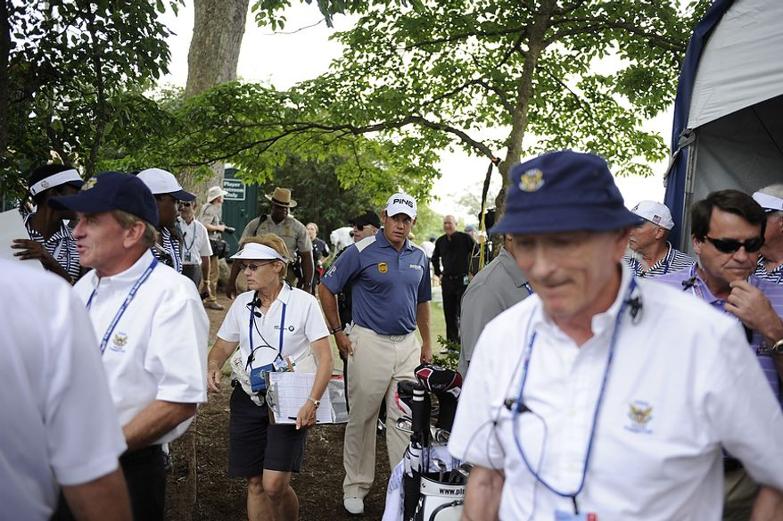 Lee Westwood, of England, approaches the first tee to start his final round of the U.S. Open at Congressional Country Club in Bethesda, Md., Sunday, June 19, 2011. (Rod Lamkey, Jr./The Washington Times)