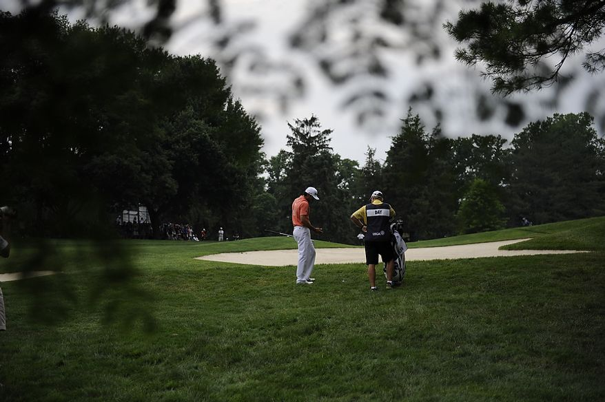 Australia's Jason Day waits to hit his second shot on the second hole during the final round of the U.S. Open at Congressional Country Club in Bethesda, Md., Sunday, June 19, 2011. (Rod Lamkey, Jr./The Washington Times)